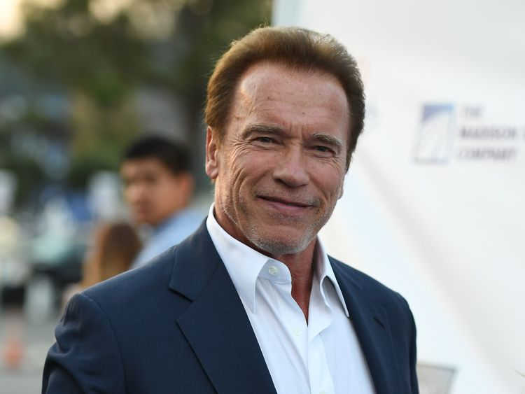 Arnold Schwarzenegger arrives at the Los Angeles Dodgers Foundation Blue Diamond Gala at Dodger Stadium in Los Angeles