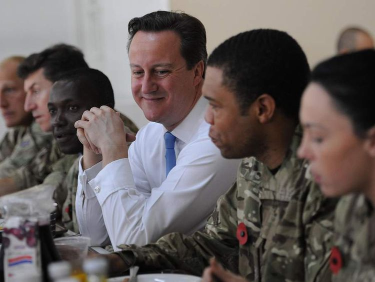 David Cameron having breakfast with troops in Dubai