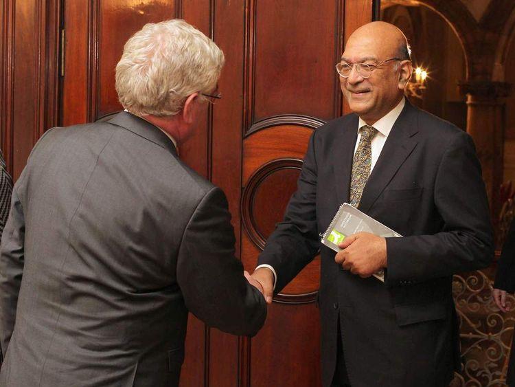Deputy Irish head Eamon Gilmore meets the  Indian ambassador to Ireland, Debashish Chakravarti