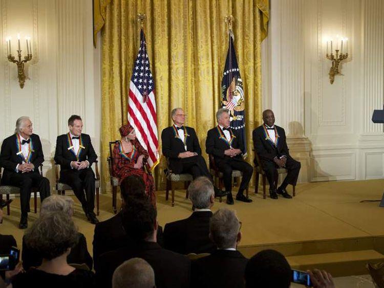 Barack Obama, Buddy Guy, Dustin Hoffman, David Letterman, Natalia Makarova, John Paul Jones, Jimmy Page, Robert Plant