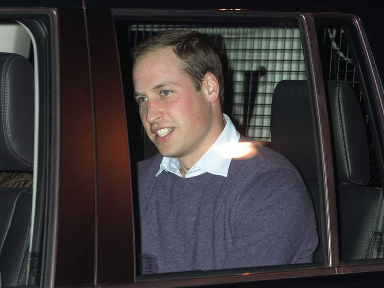 The Duke of Cambridge leaving King Edward VII Hospital in central London