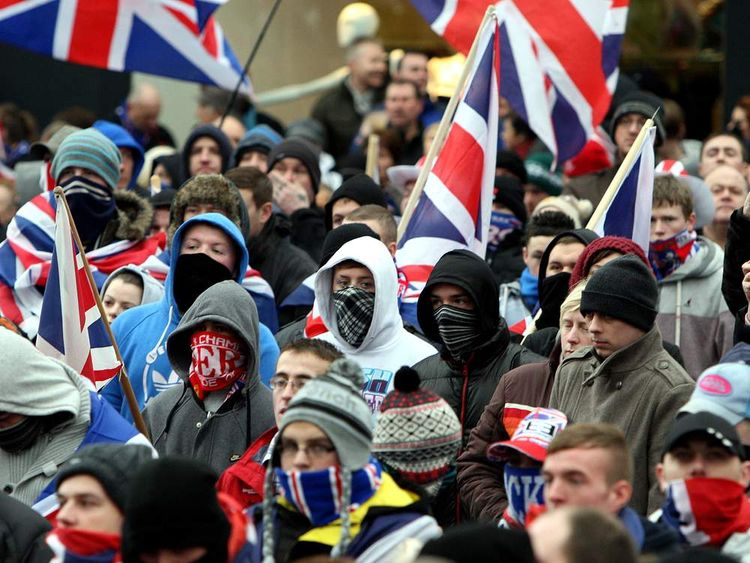 Protesters in Belfast city centre