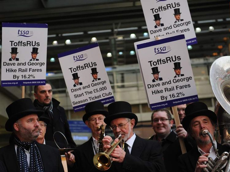Rail campaigners from the transport union TSSA demonstrate outside St Pancras