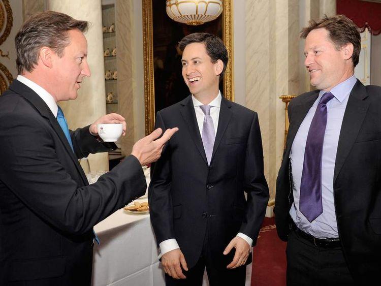 David Cameron, Nick Clegg and Ed Miliband