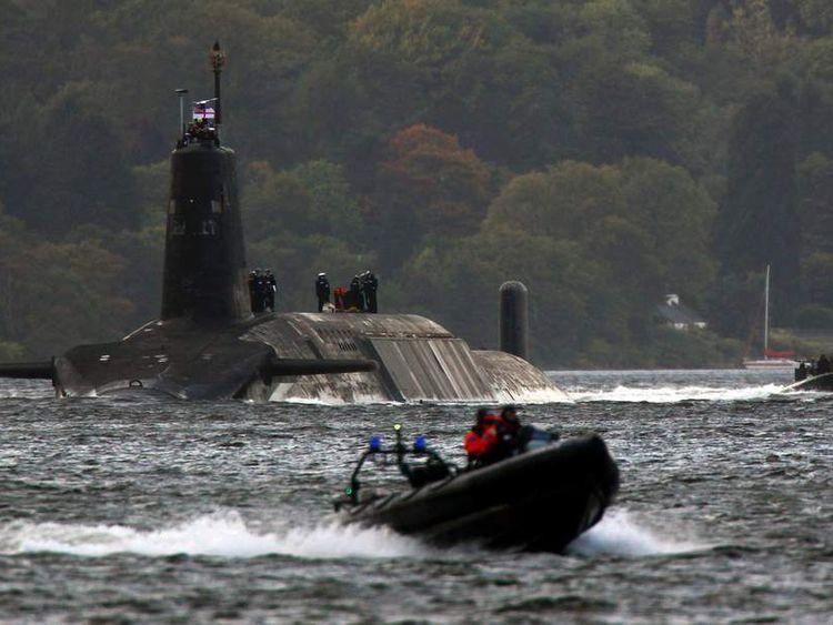 A Trident submarine leaving Faslane naval base