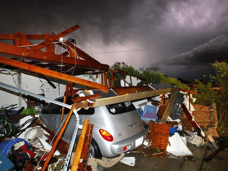 The wreckage of a home in Cleburne, Texas