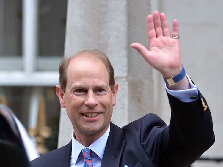 Prince Edward leaves hospital after visiting his father, the Duke of Edinburgh