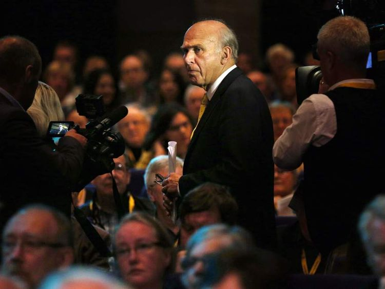 Vince Cable arriving for a debate on the economy
