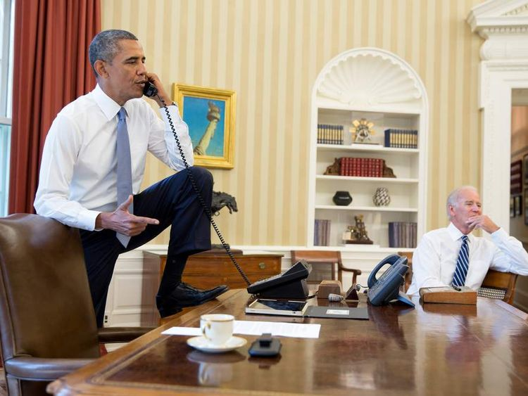 President Obama and Vice President Joe Biden discuss the situation in Syria