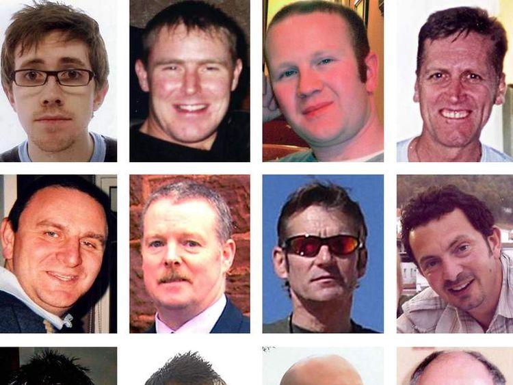 Helicopter crash inquiry croped to show second two rows of victims