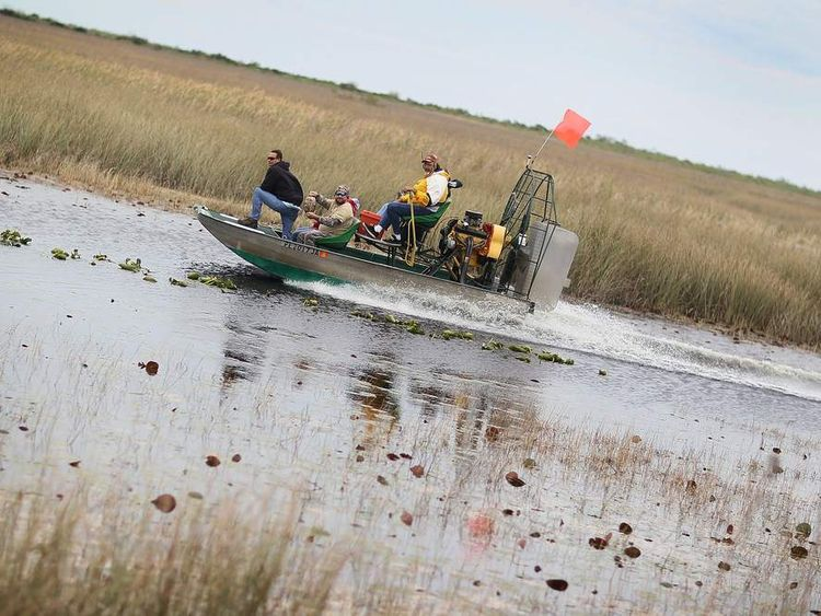 Snake hunters use an airboat during a Florida Fish and Wildlife Conservation Commission nonnative snake hunt training session on February 22, 2010