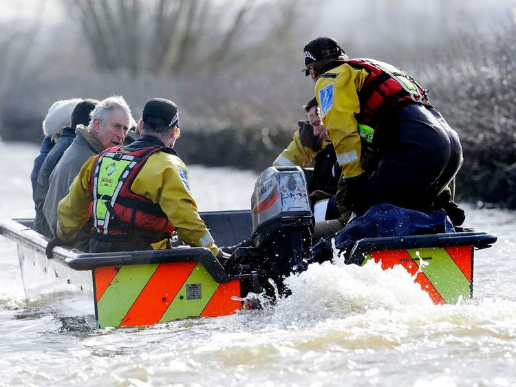 Prince of Wales visits Somerset flood victims.