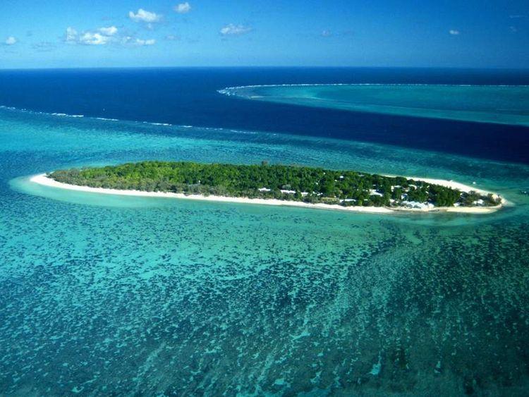 Aerial view of Heron Island and surrounding reefs Great Barrier Reef Queensland Australia