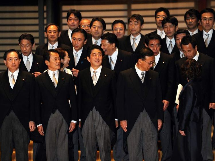 JAPAN PM Shinzo Abe with cabinet