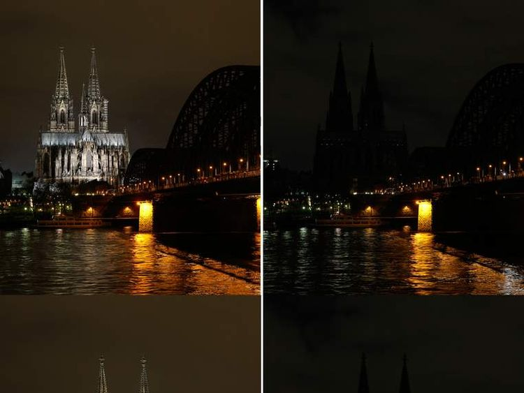 A combination of two images shows the famous Cologne Cathedral with illumination and with illumination switched off in a protest against a march by the growing grass-roots anti-Muslim movement through the western German city of Cologne