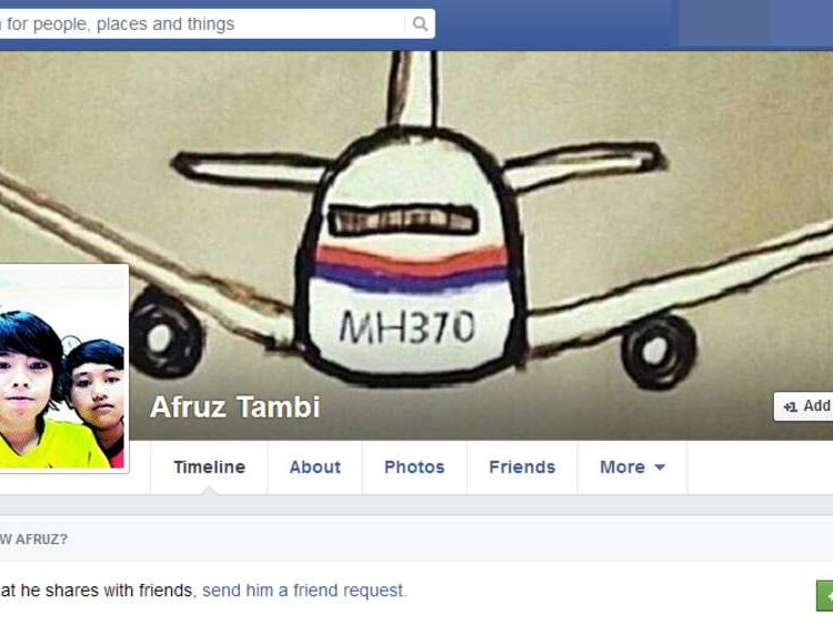 The facebook page of Afruz Tambi, one of a family of six Malaysians who all died in the MH17 crash