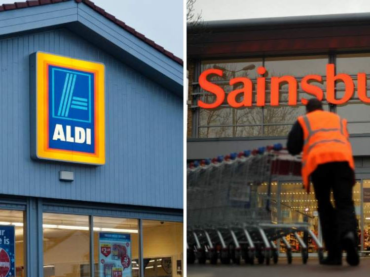 The entrances to Aldi and Sainsbury's stores