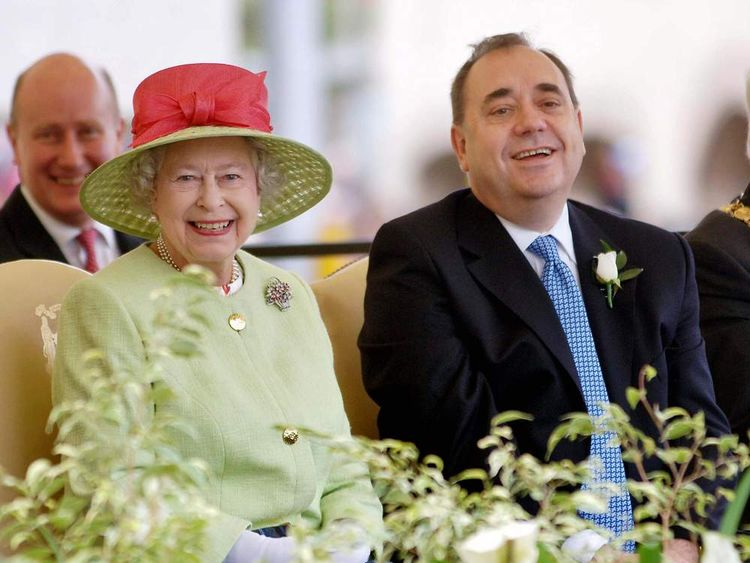 The Queen with Alex Salmond at the opening of the Scottish Parlilament in 2007