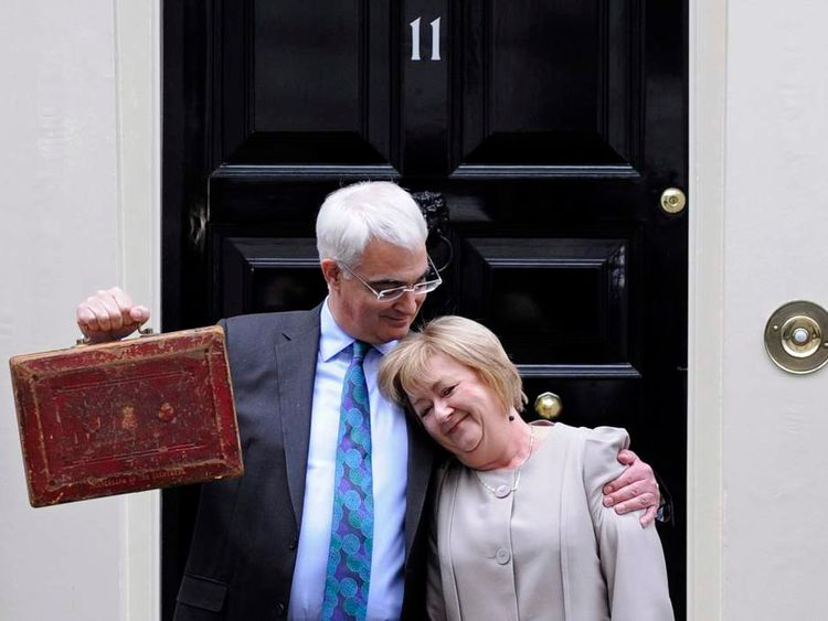Britain's Chancellor of the Exchequer Darling holds Gladstone's old Budget box outside 11 Downing Street in 2010