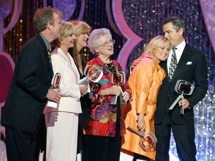 Ann B Davis with the Cast of The Brady Bunch