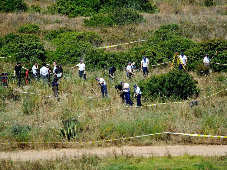 British police and their Portuguese counterparts investigating the disappearance of Madeleine McCann seven years ago from Praia da Luz on the Algarve, in Portugal during a search of a patch of scrubland just outside of the small coastal town