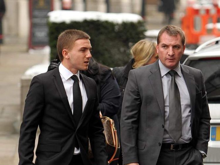 Anton Rodgers , with his father Brendan Rodgers arriving at the Old Bailey