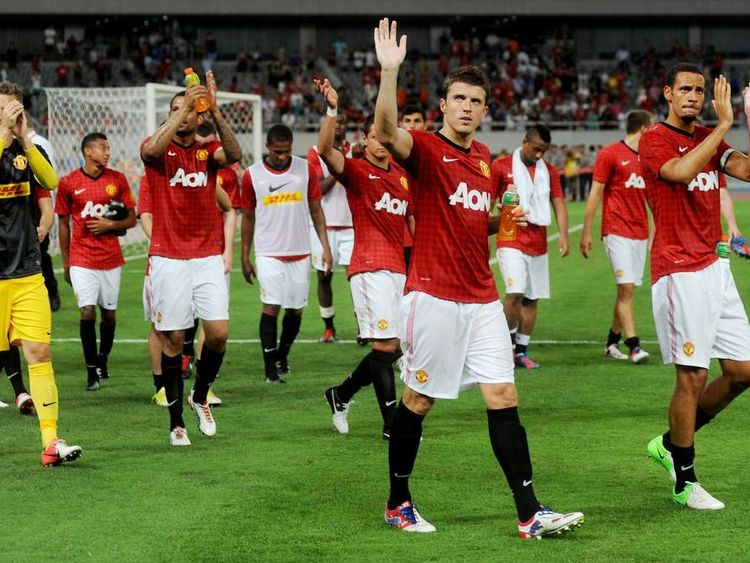 Manchester United players in Shanghai, China