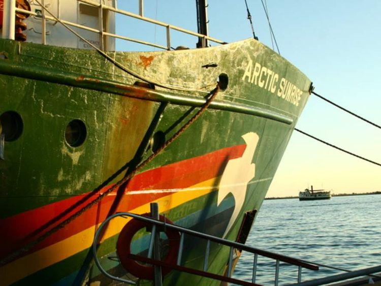 The bow of the Arctic Sunrise