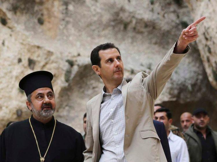 Syrian President Bashar al-Assad visits Maaloula