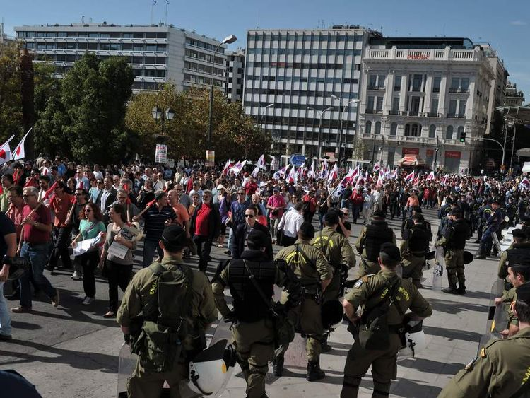 Heavy Police Presence In Athens For March