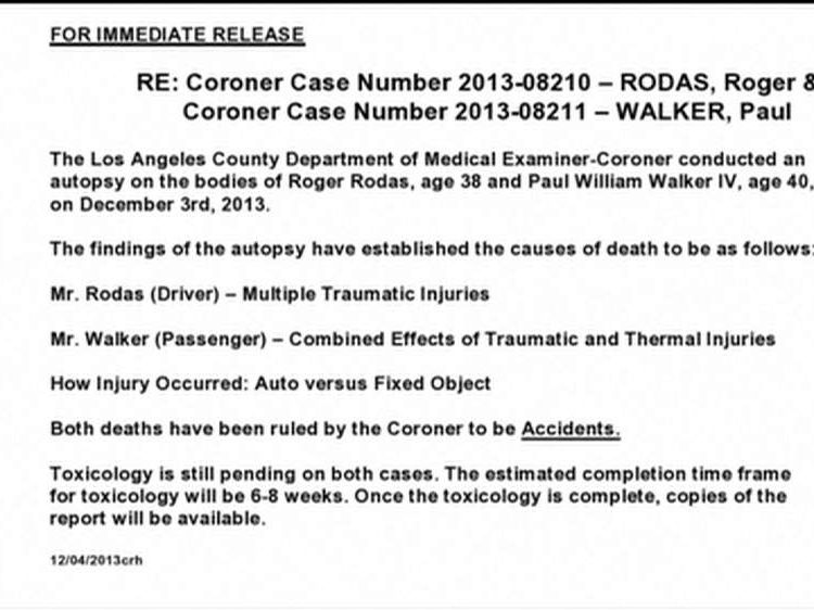 Actor Paul Wlaker's autopsy report