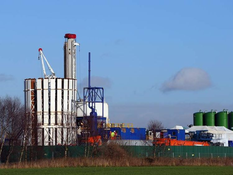 The exploratory shale gas drilling site at Barton Moss in Salford