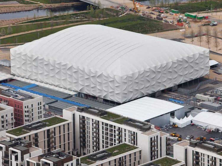 Aerial view of the Basketball Arena in the London 2012 Olympic Park