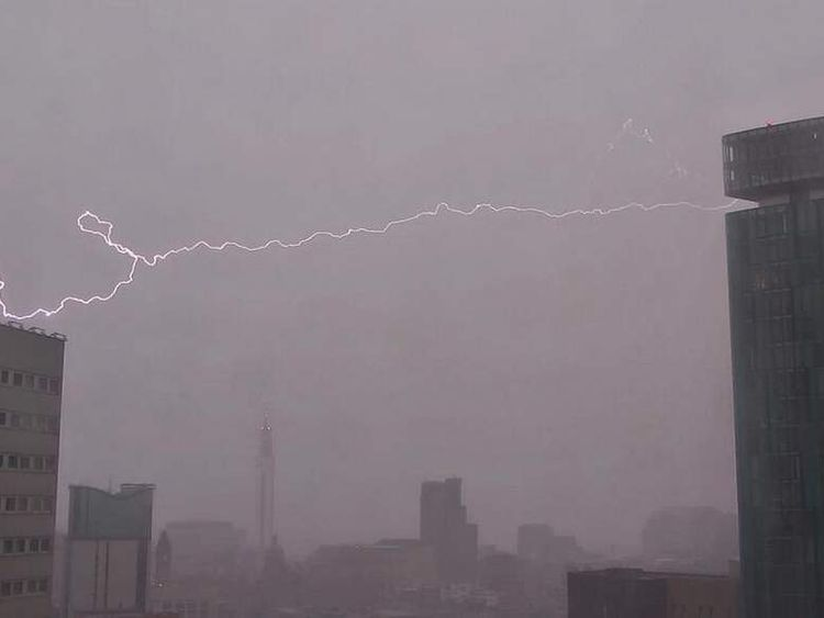Flashes of lightning were spotted in Birmingham. Pic: B1Bobs/Twitter
