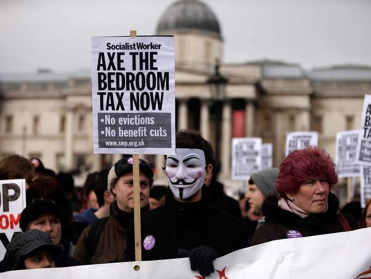 Campaigners Protest Against The Government's Impending 'Bedroom' Tax