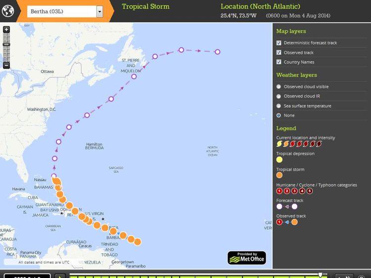 Met Office StormTracker forecast for Hurricane Bertha