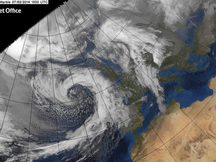 A satellite image of the storm on its way to the UK