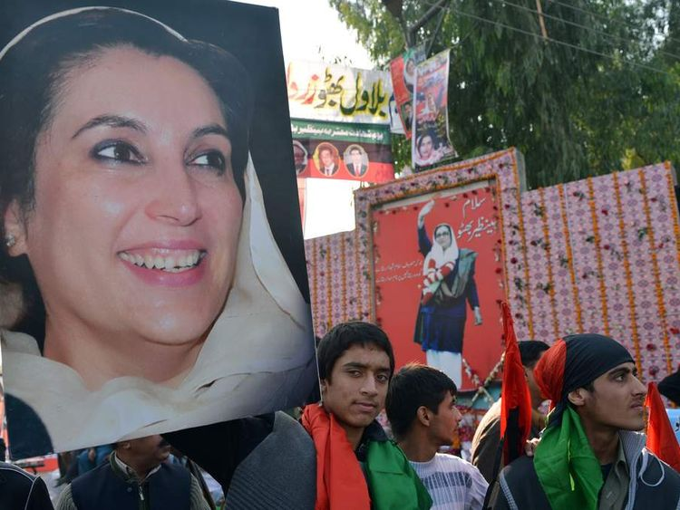 Supporters of the ruling Pakistan Peoples Party (PPP) gather at the site where former premier Benazir Bhutto was assassinated