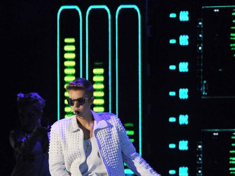 Justin Bieber performs during his concert in the Nacional Stadium, in Santiago, Chile
