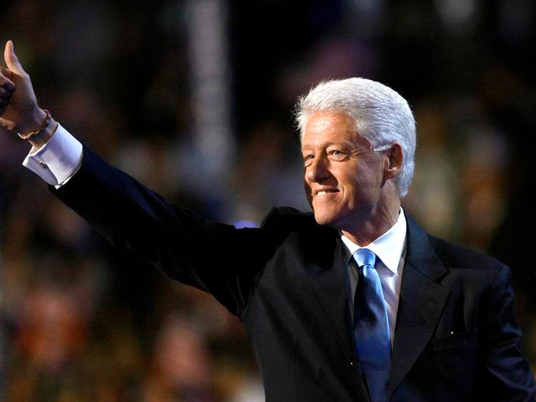 Former U.S. President Bill Clinton gives a thumbs up at the 2008 Democratic National Convention in Denver
