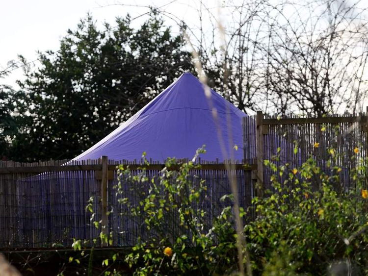 Police inspection tent in the back garden of Sian Blake family home in Kent.