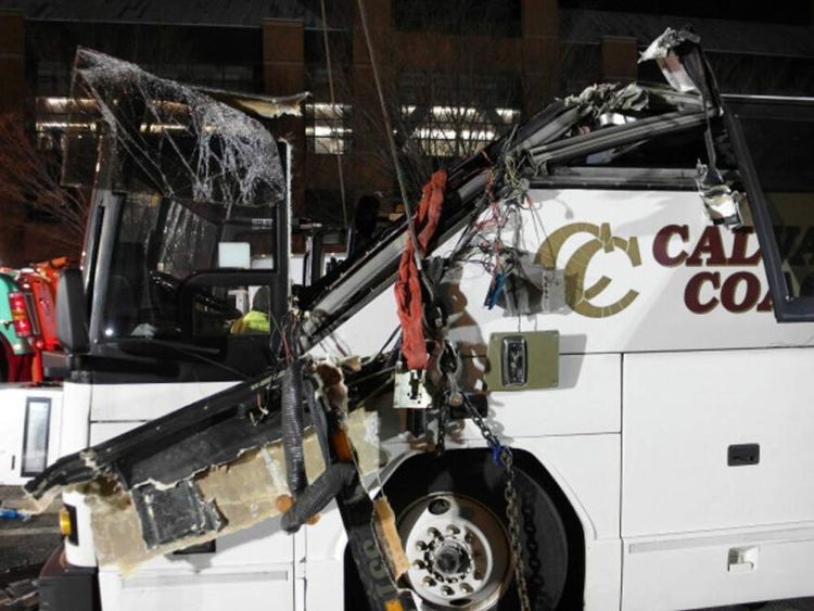 A Boston Fire Department photo shows the damage to the bus