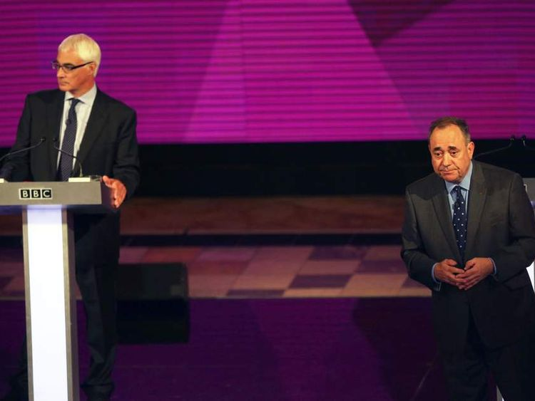 Better Together leader Alistair Darling (left) and First Minister Alex Salmond at the second television debate over Scottish independence