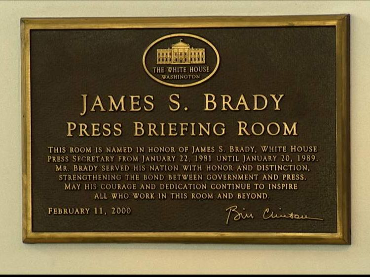 040814 $$ James S Brady Press Briefing Room in White House