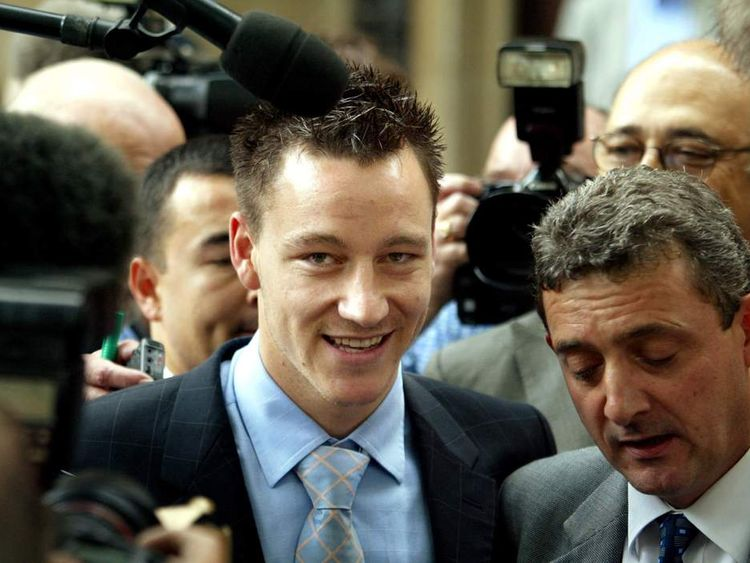 Chelsea player John Terry leaves the Middlesex Guildhall crown court in 2002