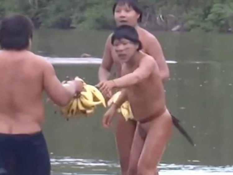 Amazonian indigenous people take bananas from a man from Brazil