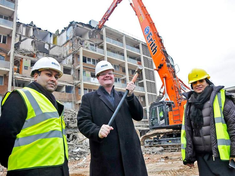 The demolition team of the Wentworth Road flats at work