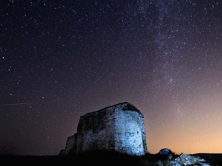 Perseids meteor shower in Bulgaria in 2013.