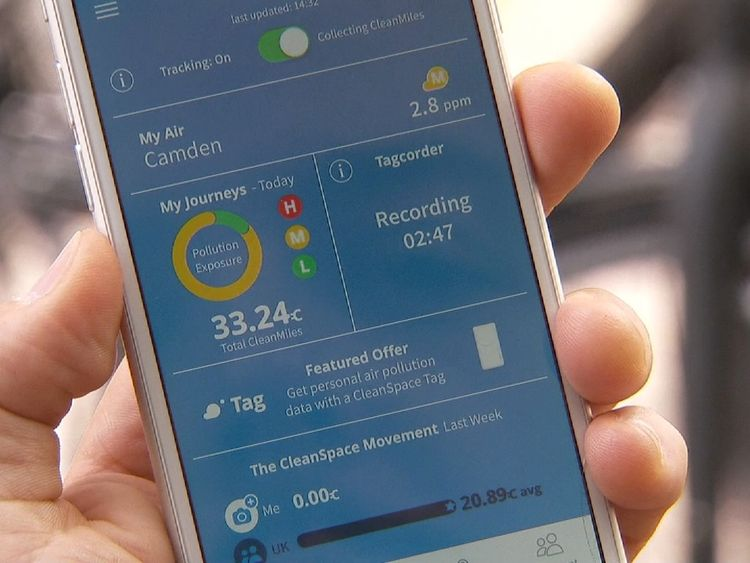 The CleanSpace app enables people to monitor pollution levels