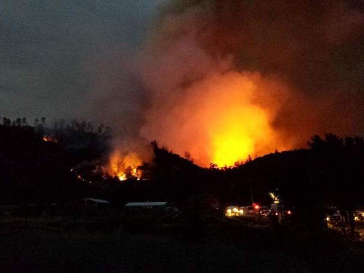 A wildfire rages in California. Pic: Daniel Berlant/Calfire/Twitter